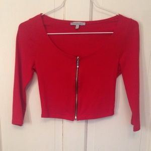 Charlotte Russe Red Zipper Crop Top Small